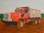 Trucks Art - Autocar Dumptruck by Mary Vincent