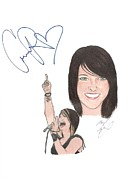 Cassadee Pope Drawings Framed Prints - Autographed CASSADEE POPE Framed Print by Michael Dijamco