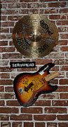 Autographed Metal Prints - Autographed Guitar and Record Memorabilia of the famous band ZebraHead Metal Print by Renee Anderson