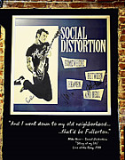 Autographed Metal Prints - Autographed Poster of Rock legend Mike Ness Metal Print by Renee Anderson