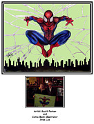 Autograph Drawings Posters - Autographed Spiderman Poster by Scott Parker