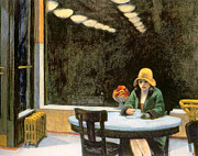 Night Cafe Painting Framed Prints - Automat Framed Print by Edward Hopper