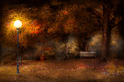 Photography Of Lamps Framed Prints - Autumn - A park bench Framed Print by Mike Savad