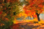 Leaf Tunnel Prints - Autumn Abstract Watercolor Print by Terri Gostola