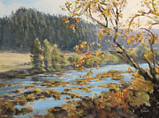 Riverscape - Early Autumn Prints - Autumn Afternoon Print by Karen Ilari