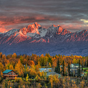Neighbors Prints - Autumn Alpenglow Print by Ron Day