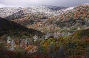 Smokey Mountains Prints - Autumn and snow at Cherohala Skyway Print by Jetson Nguyen