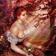 Renoir Mixed Media - Autumn and The Lonely Wait - Dedication by Zeana Romanovna