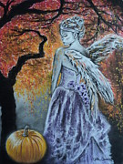 Foliage Pastels Posters - Autumn Angel Poster by Carla Carson