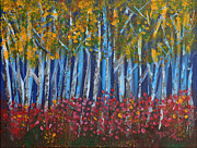 Illustration Painting Originals - Autumn Aspens by Donna Blackhall