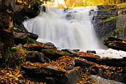 Canoe Waterfall Posters - Autumn at Cattyman Falls Poster by Larry Ricker