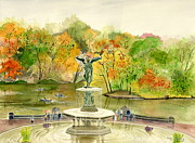 Melly Terpening Paintings - Autumn at Central Park NY by Melly Terpening