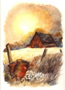 Sunset Greeting Cards Drawings Posters - Autumn at MacGregors Barn Vignette wc Poster by Carol Wisniewski