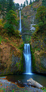 Rough Texture Framed Prints - Autumn at Multnomah Falls Framed Print by Dan Mihai