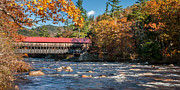 Bucolic Scenes Photos - Autumn at New Hampshires Albany Bridge by Thomas Schoeller