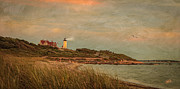 Lighthouse Mixed Media Posters - Autumn At Nobska Light House Poster by Michael Petrizzo
