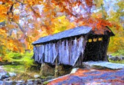 Impasto Oil Digital Art - Autumn at Pisgah Covered Bridge  by Russ Mann