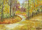 Bend In The Road Posters - Autumn at the Bend  Poster by Brenda Mullaney
