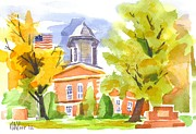 Water Colour Painting Originals - Autumn at the Courthouse by Kip DeVore
