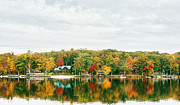 Lake House Metal Prints - Autumn at the Lake - Pocono Mountains Metal Print by Vivienne Gucwa