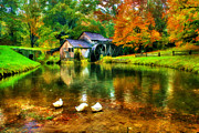 Grist Mill Prints - Autumn at the Mill Print by Darren Fisher