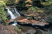 Mohican Prints - Autumn At The Top Of Mohican Falls Print by Gene Walls