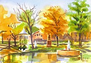 Reflection On Pond Prints - Autumn at the Villa Print by Kip DeVore