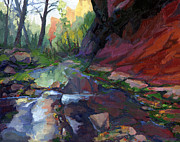 West Fork Painting Framed Prints - Autumn at West Fork Framed Print by Russell  Johnson