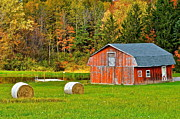 Shed Posters - Autumn Barn and Bales of Hay Poster by Robert Harmon