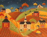 Pa Barns Posters - Autumn Barn Quilts Poster by Mary Charles