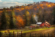Autumn Farm Scenes Posters - Autumn - Barn - The end of a season Poster by Mike Savad