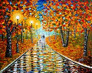 Fall Colours Posters - Autumn Beauty original palette knife painting Poster by Georgeta  Blanaru