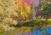 Digitalized Photograph Prints - Autumn Beside the Pond Print by Don Schwartz