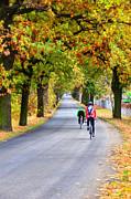 Hued Posters - Autumn bicyclists Poster by Gynt