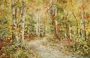 Woodland Scenes Pastels Prints - Autumn Birch Walk Print by Barbara Smeaton