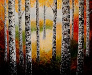 Fall Colors Autumn Colors Posters - Autumn Birches Forest Scent palette knife painting Poster by Georgeta Blanaru