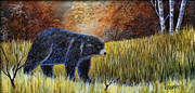 Francis Painting Posters - Autumn Black Bear Poster by Kenny Francis