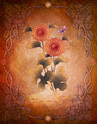 Flower Design Mixed Media Framed Prints - Autumn Blooming Mum Framed Print by Bedros Awak
