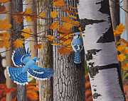 Bluejay Painting Metal Prints - Autumn Bluejays Metal Print by Ron Plaizier