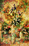 Vibrant Colors Mixed Media Posters - Autumn Bounty - Abstract Expressionism Poster by Zeana Romanovna