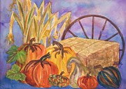 Bale Painting Metal Prints - Autumn Bounty Metal Print by Ellen Levinson