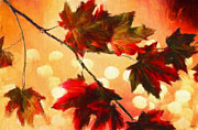 Red Maple Trees Prints - Autumn Branch Print by Lourry Legarde
