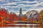 Bow Bridge Digital Art Prints - Autumn Bridge Print by Nishanth Gopinathan