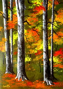 Serenity Scenes Landscapes Paintings - Autumn  Bright by Shasta Eone