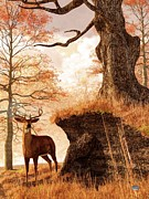 Colors Of Autumn Digital Art Prints - Autumn Buck Print by Daniel Eskridge