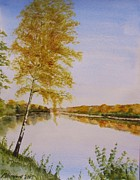 Pathway Paintings - Autumn By The River by Martin Howard
