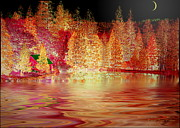 Joyce Dickens Digital Art Prints - Autumn Cabin On The Lake Print by Joyce Dickens