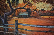 Rural Scene Originals - Autumn Cabin by Shirl Theis