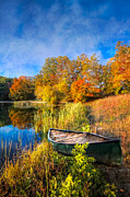 Tn Posters - Autumn Canoe Poster by Debra and Dave Vanderlaan