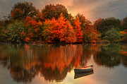 Canoe Metal Prints - Autumn Canoe Metal Print by Robin-lee Vieira
